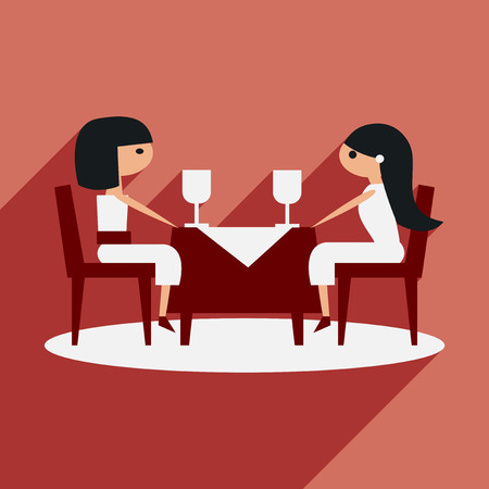 restaurant interior design: Flat with shadow icon and mobile application friendly dinner