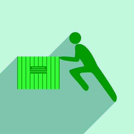 moving box: Flat with shadow icon and mobile application people moving box Illustration