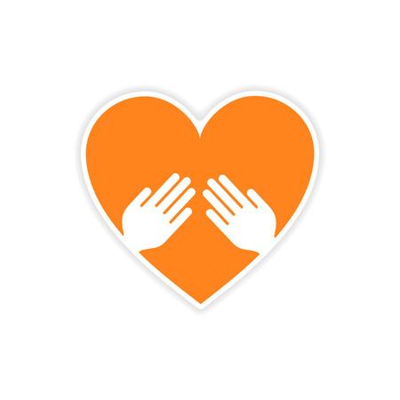 hand heart: icon sticker realistic design on paper heart hand Illustration