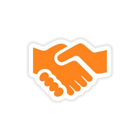 icon sticker realistic design on paper handshake