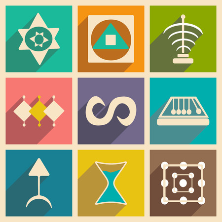 alchemical: Flat with shadow concept and mobile application alchemical symbols Illustration