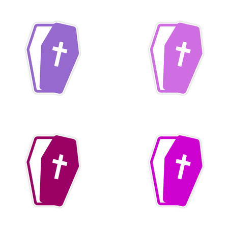 casket: Set stickers bright coffins on white background