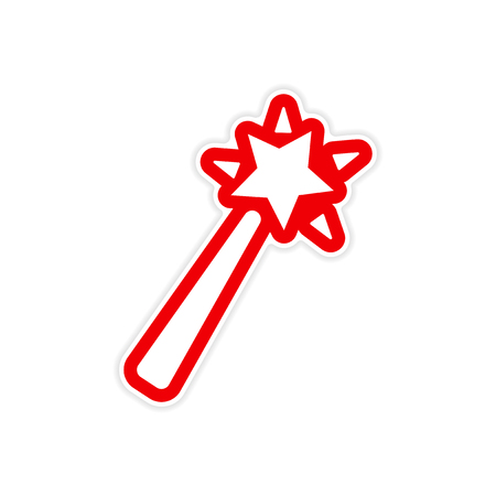 faerie: Sticker magic wand on a white background Illustration