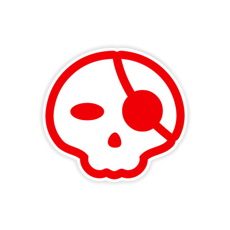 Sticker stylish skull with eye patch on white background vector