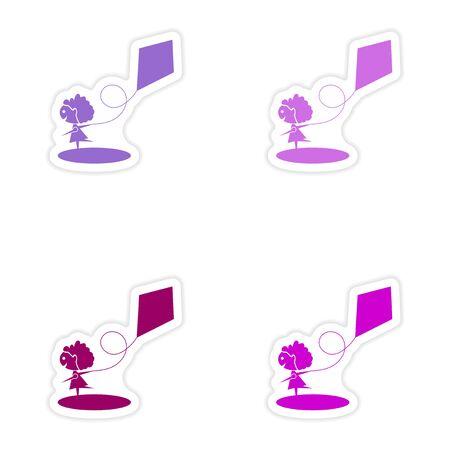paper kite: assembly realistic sticker design on paper Girl kite