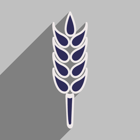 ear of wheat: Flat with shadow icon and mobile application ear wheat Illustration