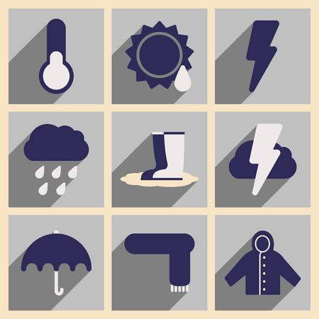climas: Flat con el concepto de la sombra y el tiempo de aplicaciones móviles Vectores
