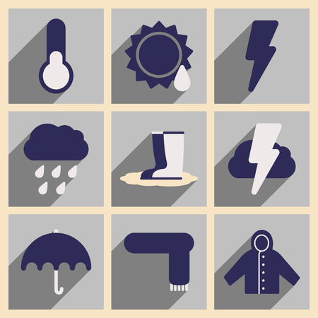 cloudy weather: Flat with shadow concept and mobile application weather Illustration