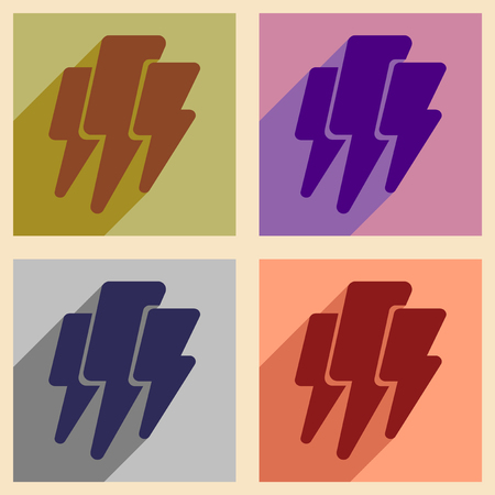 thunder and lightning: Flat with shadow concept and mobile application thunder Lightning