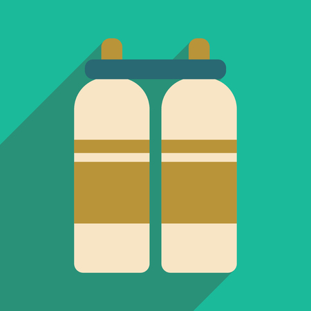 cylinders: Flat with shadow icon and mobile application air cylinders