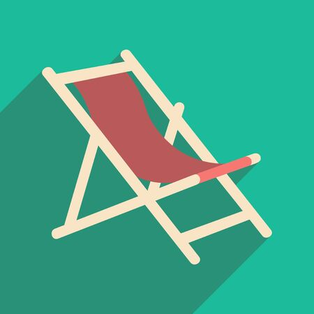 transat: Flat with shadow icon and mobile application deck chair Illustration