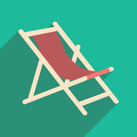 Wohnung mit Schatten Symbol und mobile Anwendung Liegestuhl Vektorgrafik