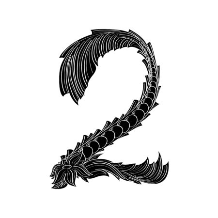 numbers abstract: Abstract number 2   icon black and white design Illustration