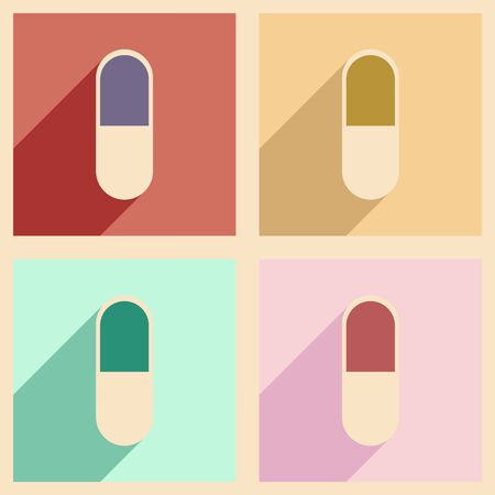 pharmaceutical industry: Flat with shadow concept and mobile application pharmaceutical industry Illustration