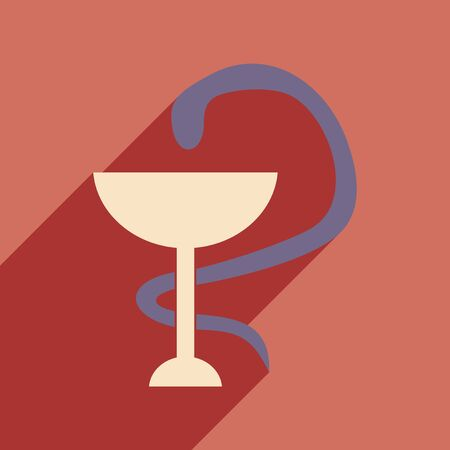 asclepius: Flat with shadow icon and mobile application snake Illustration
