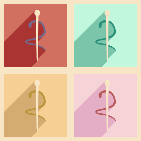 caduceus snake with stick: Flat with shadow concept and mobile application medical snake Illustration