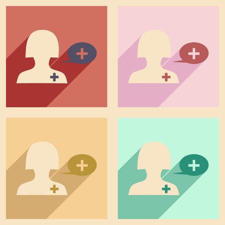 медик: Квартира с тенью концепции и мобильного приложения врача Иллюстрация