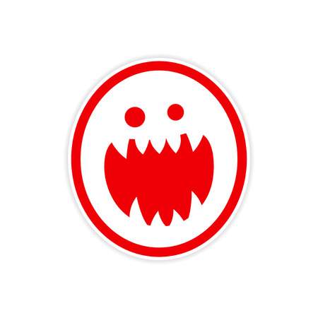 sharp: Sticker bright monster with sharp teeth on a white background