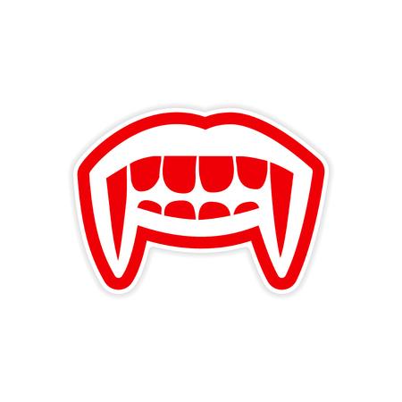 Sticker vampire bright smile on white background Illustration