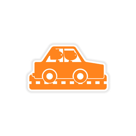 female driver: icon sticker realistic design on paper car girls