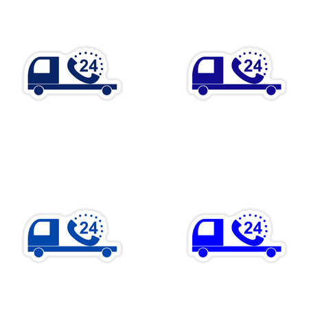 around the clock: assembly realistic sticker design on paper Truck service around clock Illustration