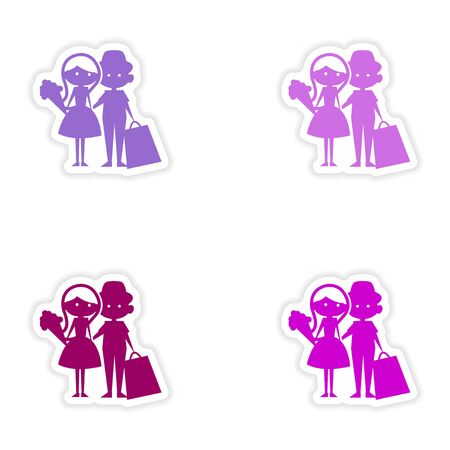 boy girl: assembly realistic sticker design on paper boy girl flowers