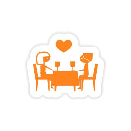 dinner date: icon sticker realistic design on paper  romantic date