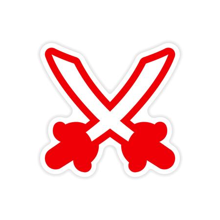 crossed swords: pegatina brillante espadas cruzadas sobre un fondo blanco Vectores