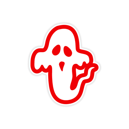 haunt: sticker ghost color on a white background Illustration