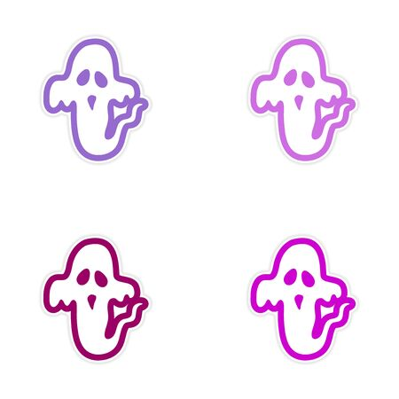 otherworldly: assembly sticker ghost color on a white background Illustration