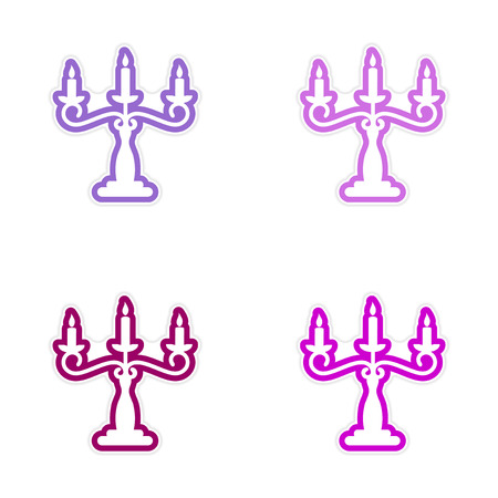assembly sticker candelabra and candles on a white background