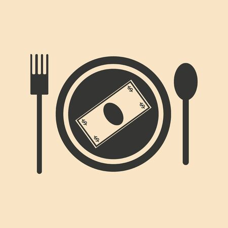 barter: Flat black and white Banknotes in plate Illustration