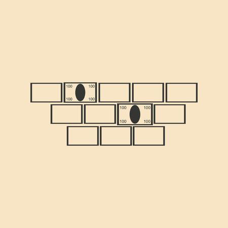 millions: Flat in black white bricks and money Illustration