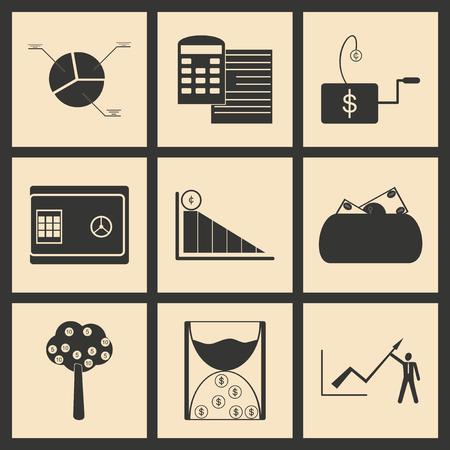 economic: Flat in black and white concept economic icon Illustration