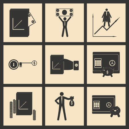 wad: Flat in black and white concept economic icon Illustration