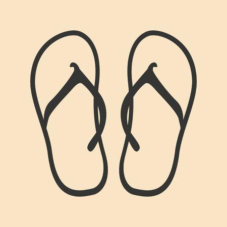 flip flops: Flat in black and white mobile application flip flops Illustration