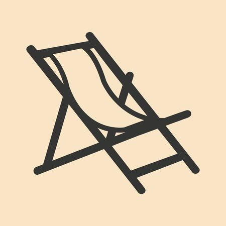 deckchair: Flat in black and white mobile application deckchair Illustration