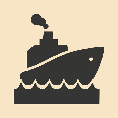 Flat in black and white mobile application ship