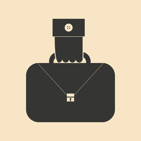 extortion: Flat in black and white hand holding case Illustration