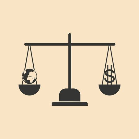 news values: Flat in black white Earth and dollar on scales Illustration
