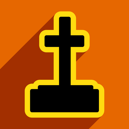 headstone: Flat with shadow icon and mobile application headstone Illustration