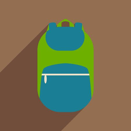 back view student: Flat with shadow icon and mobile application backpack