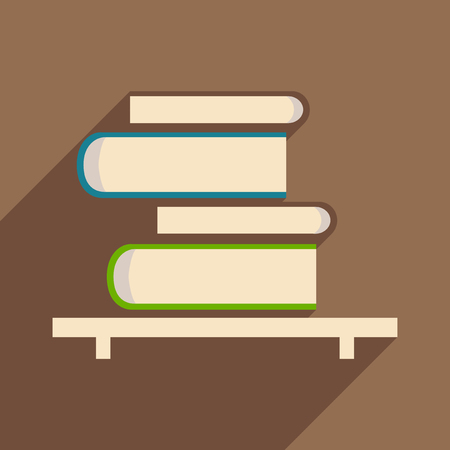 book shelf: Flat with shadow icon and mobile application book shelf Illustration