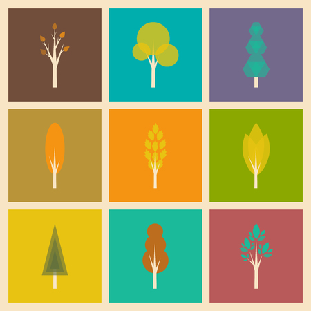 superacion personal: Flat with shadow concept and mobile application trees forest