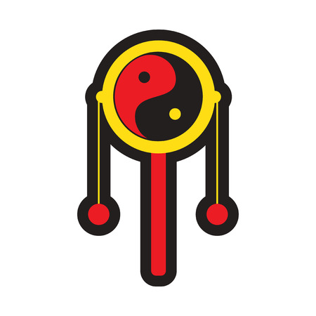 hand beats: Japanese hand drum realistic icon on whitebackgrounds