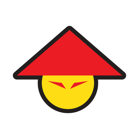 spicy mascot: Japanese hats realistic icon on white backgrounds