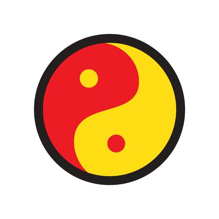 karma concept: yin yang symbol of harmony realistic icon on whitebackgrounds Illustration