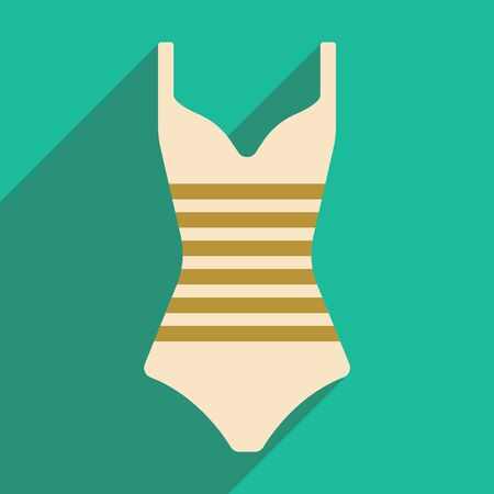 women body: Flat with shadow icon and mobile application swimsuit