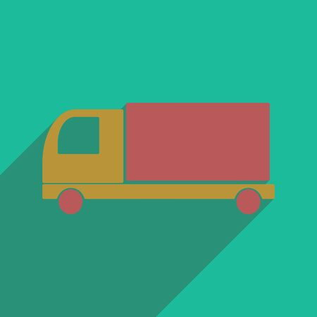 transport truck: Flat with shadow icon and mobile application delivery truck Illustration