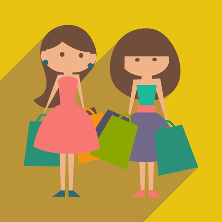 personal shopper: Flat with shadow icon and mobile application shopping